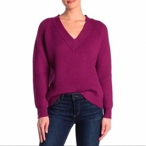 FRNCH PARIS Pull Over V Neck Ribbed Knit S/M